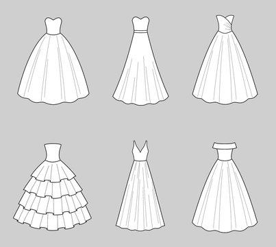 Wedding dress fashion flat illustration on the background