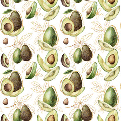 Watercolor summer seamless pattern with linear avocado and leaves. Hand painted tropical golden fruits isolated on white background. Floral elegant illustration for design, print, fabric, background.