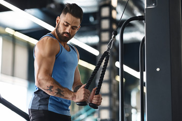 Wall Mural - Muscular man exercising with training apparatus in gym