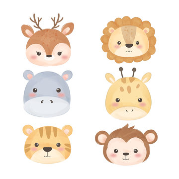 cute watercolor animal faces for decoration