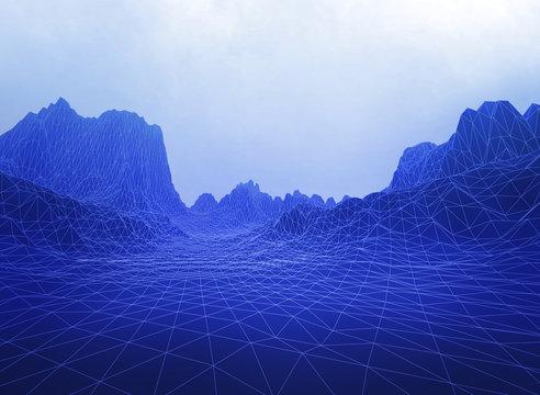 Surrealistic wireframe landscape terrain. Futuristic concept 3D illustration