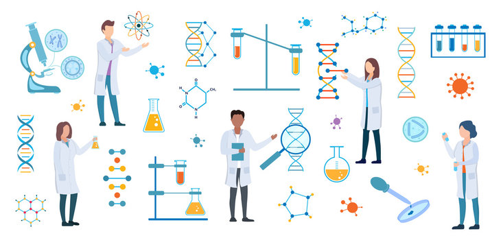 Set of DNA and medical science researchers, microbiologists or chemists in white lab coats with assorted scientific and atomic symbols and equipment conducting experiments, vector illustration
