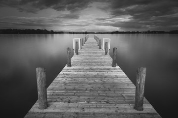 black and white jetty pier