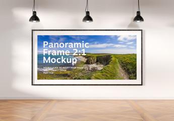 Panoramic Frame on Wall Mockup