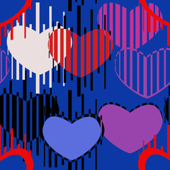 Seamless pattern of colored hearts and strips on a blue background