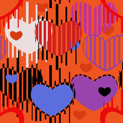 Seamless pattern of colored hearts and strips on a red background