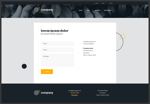 Contact Page Website Design Layout Black and White with Yellow Accents
