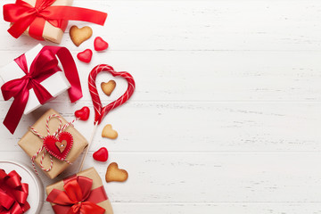 Valentines day gifts and heart gingerbread cookies