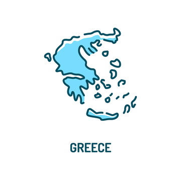Greece map color line icon. Border of the country. Pictogram for web page, mobile app, promo. UI UX GUI design element. Editable stroke.