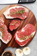 Printed kitchen splashbacks Meat Variety Steak raw. Barbecue Rib Eye Steak, dry Aged Wagyu Entrecote Steak.