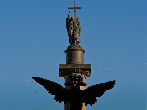 Two-headed crowned eagle and guardian angel of Saint Petersburg.