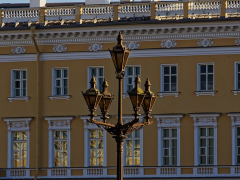 Lantern on the Palace square on the background of the General staff buildings.
