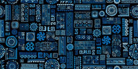 Ethnic blue handmade ornament, seamless pattern Wall mural