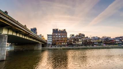 Fototapete - Kyoto, Japan Downtown Cityscape on the Kamo River