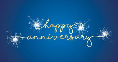 Happy Anniversary handwritten typography sparkle firework line design gold blue background