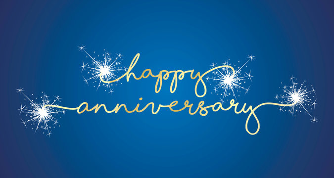 Happy Anniversary handwritten typography sparkle firework line design gold blue background