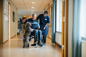 Full length of female nurse standing by disabled elderly man on wheelchair playing with dog in alley at retirement home