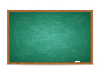 Realistic green chalkboard with wooden frame isolated on white background. Rubbed out dirty chalkboard. Empty school chalkboard for classroom or restaurant menu. Vector template blackboard for design  Wall mural