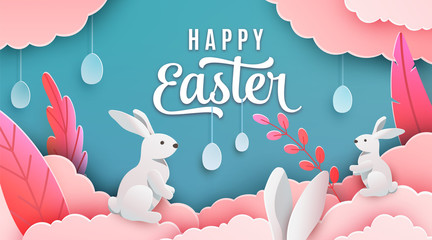 Happy easter banner background. Holiday greeting in paper cut 3d style with clouds, bunny, plant, egg, ears. Vector illustration. Place for your text