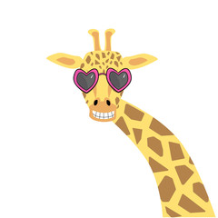 Cute giraffe illustration in heart-shaped sunglasses. Vector illustration in flat style for St. Valentine Day.
