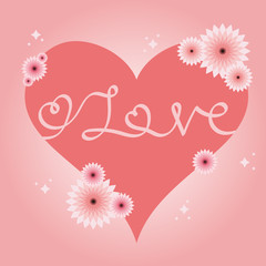 Valentines card with handwriting love inscription inside. Heart with flowers. Pink valentine card