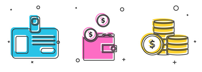 Set Identification badge, Wallet with coins and Coin money with dollar symbol icon. Vector