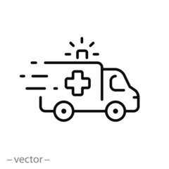 ambulance icon, outline emergency car, medicine van, care medic support, thin line web symbol on white background - editable stroke vector illustration eps10