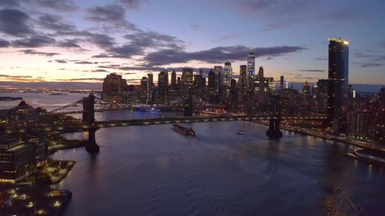 Fototapete - New York City downtown buildings skyline aerial evening sunset