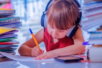 Humorous portrait of female business child working with documents in office and listening at the...