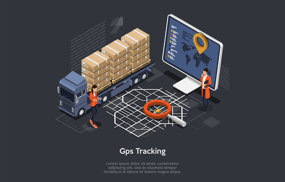 Isometric Online Cargo Delivery Tracking System With Gps Position Of the Truck. Workers are Monitoring The Location Of The Truck On The Map. Flat Style. Vector Illustration