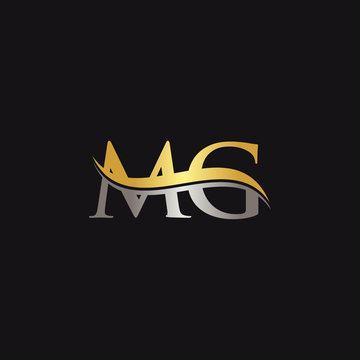 Initial Gold And Silver letter MG Logo Design with black Background. Abstract Letter MG logo Design