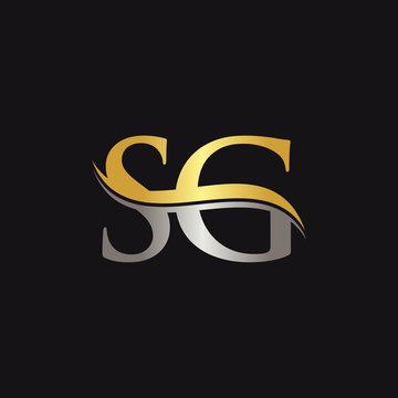 Gold And Silver letter SG Logo Design with black Background. SG Letter Logo Design