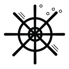 Nautical black helm vector icon. Ship and boat steering wheel sign. Boat wheel control icon. Rudder label. Helm  logo