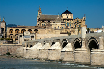 Cordoba Spain, view of Mosque-cathedral of Cordoba from across  the Guadalquivir river