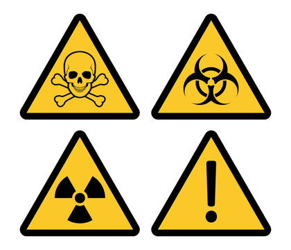 Yellow triangle warning and danger signs
