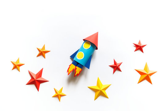 Paper diy rocket. Origami craft stars.