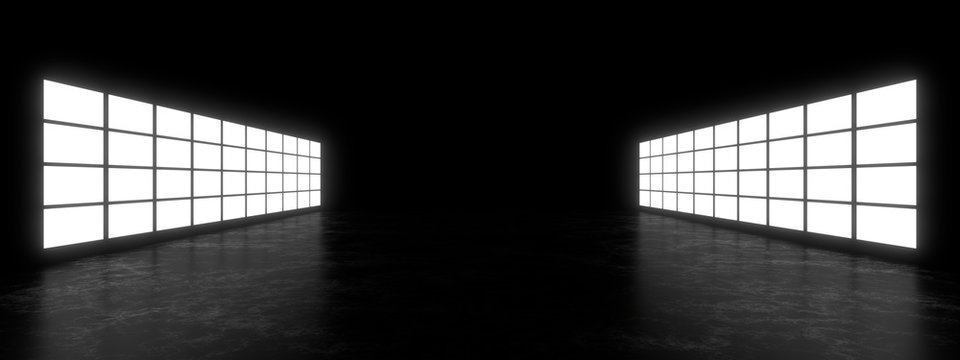 Empty dark space illuminated by a large rectangular lamp. Blurry reflections on the concrete floor. 3d rendering image.