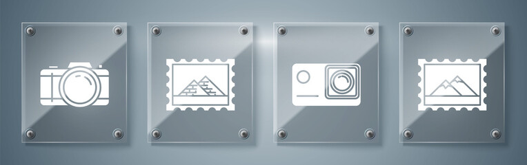 Set Postal stamp and Mountains, Action extreme camera, Postal stamp and Egypt pyramids and Photo camera. Square glass panels. Vector