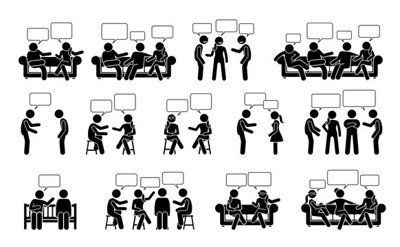 People conversation and communication with one another stick figure pictogram icons. Vector illustrations depict people or friends talking and chatting to each other in sitting and standing positions.