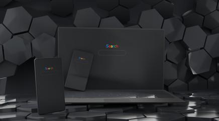 mobile phone and computer dark design 3d-illustration