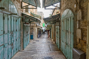 Jerusalem old street in the morning