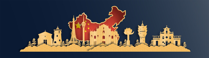 Fototapete - China map with Macau skyline, world famous landmarks in paper cut style vector illustration