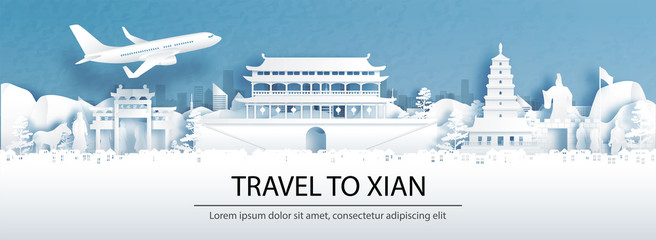 Fototapete - Travel advertising with travel to Xian, China concept with panorama view of city skyline and world famous landmarks in paper cut style vector illustration.