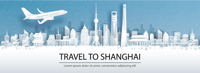 Fototapete - Travel advertising with travel to Shanghai, China concept with panorama view of city skyline and world famous landmarks in paper cut style vector illustration.