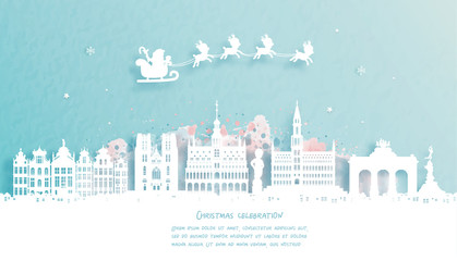 Wall Mural - Christmas card with Brussels, Belgium famous landmark and Santa and reindeer. Christmas celebrations in paper cut style. Vector illustration.