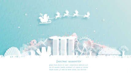 Fototapete - Christmas card with Singapore famous landmark and Santa and reindeer. Christmas celebrations in paper cut style. Vector illustration.