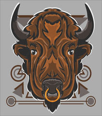 Illustration of bison animal with a geometry head