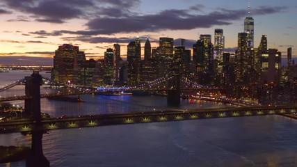 Fototapete - New York City downtown buildings skyline aerial