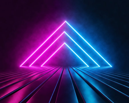 Futuristic Sci Fi Triangle Shaped Pink And Blue Neon Glowing Lights In Empty Dark Room. abstract background, virtual reality, vibrant colors, laser show. 3d rendering