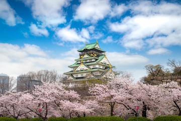 Osaka Castle with Japanese cherry blossom garden and tourist sightseeing at Osaka, Japan. Japan...